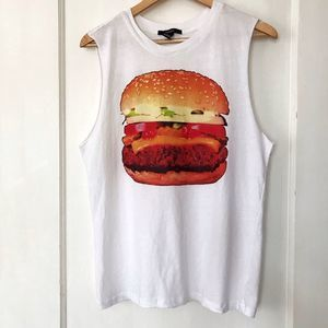 Graphic Hamburger White Tank
